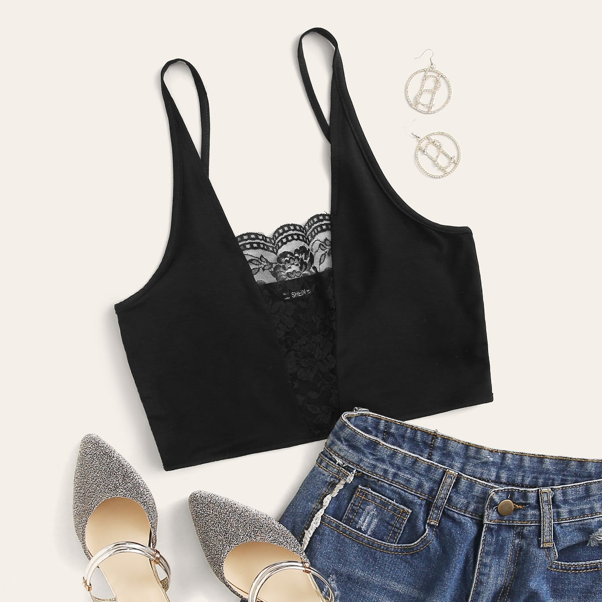 Lace Insert Crop Cami Top, SHEIN  - buy with discount