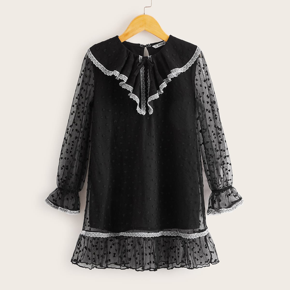 Girls Contrast Lace Detail Flounce Sleeve Dobby Mesh Dress