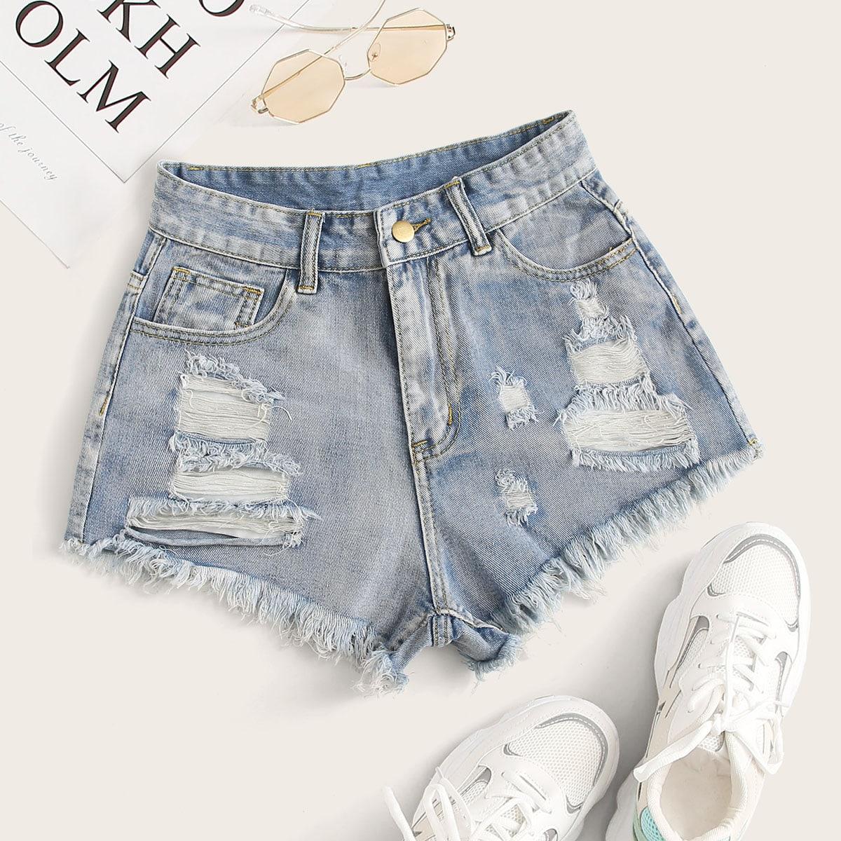 SHEIN coupon: Distressed Stone Wash Frayed Shorts
