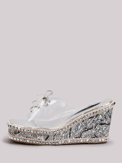 Studded Decor Lace-up Transparent Band Glitter Wedge Mules