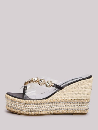 Gemstone Decor Clear Cross Strap Espadrille Wedge Mules