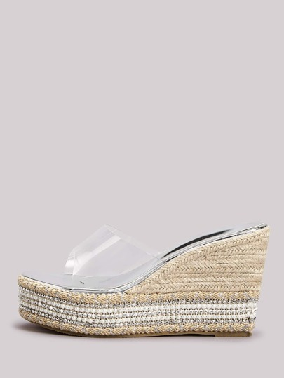 Faux Pearl & Bead Decor Sole Clear Band Wedge Mules