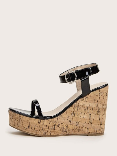 Patent Ankle Strap Cork Wedges