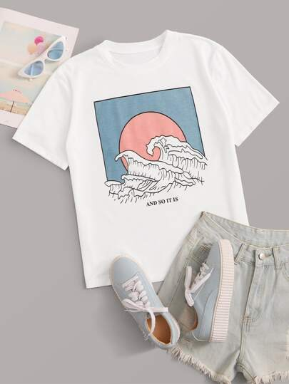 Wave And Slogan Graphic Tee