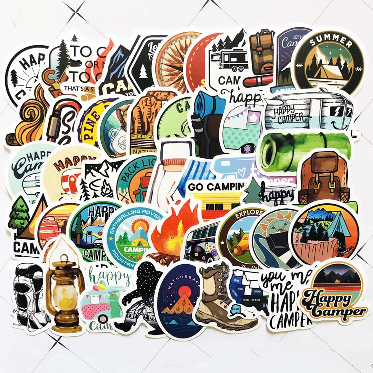 50pcs Wild Camping Pattern Sticker