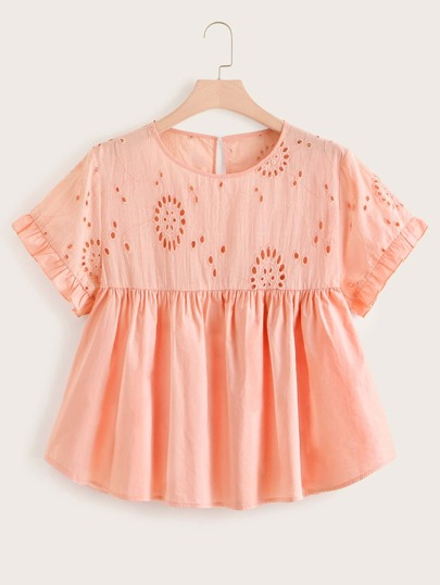 Plus Eyelet Embroidery Babydoll Blouse