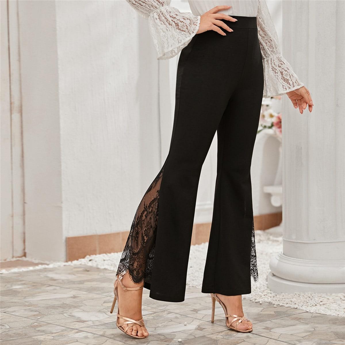 Расклешенные брюки с кружевной вставкой