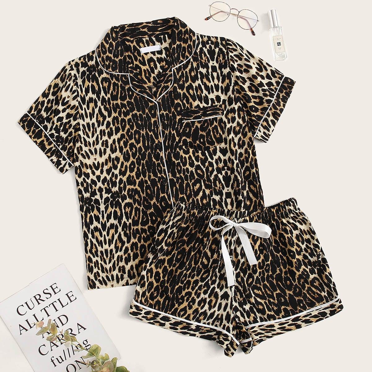 Пижама на кулиске с леопардовым принтом