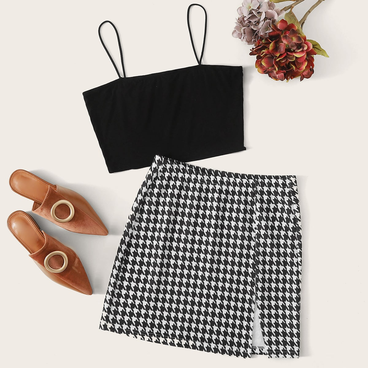 Solid Crop Cami Top & Houndstooth Split Skirt Set, SHEIN  - buy with discount