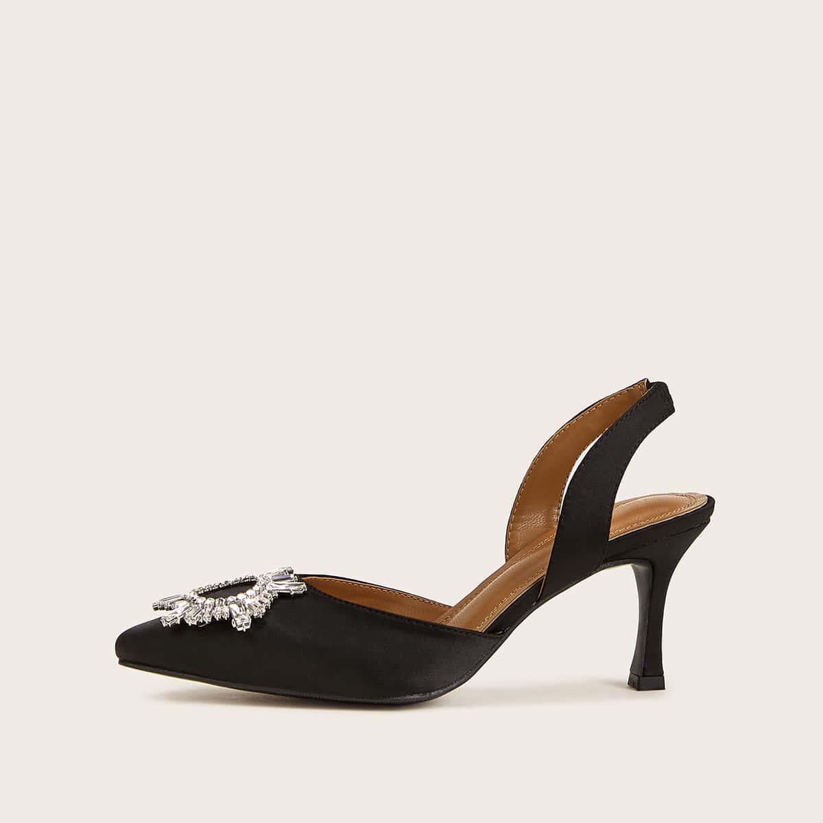 Остроконечные туфли на каблуках с открытой пяткой, декором солнца и стразами от SHEIN