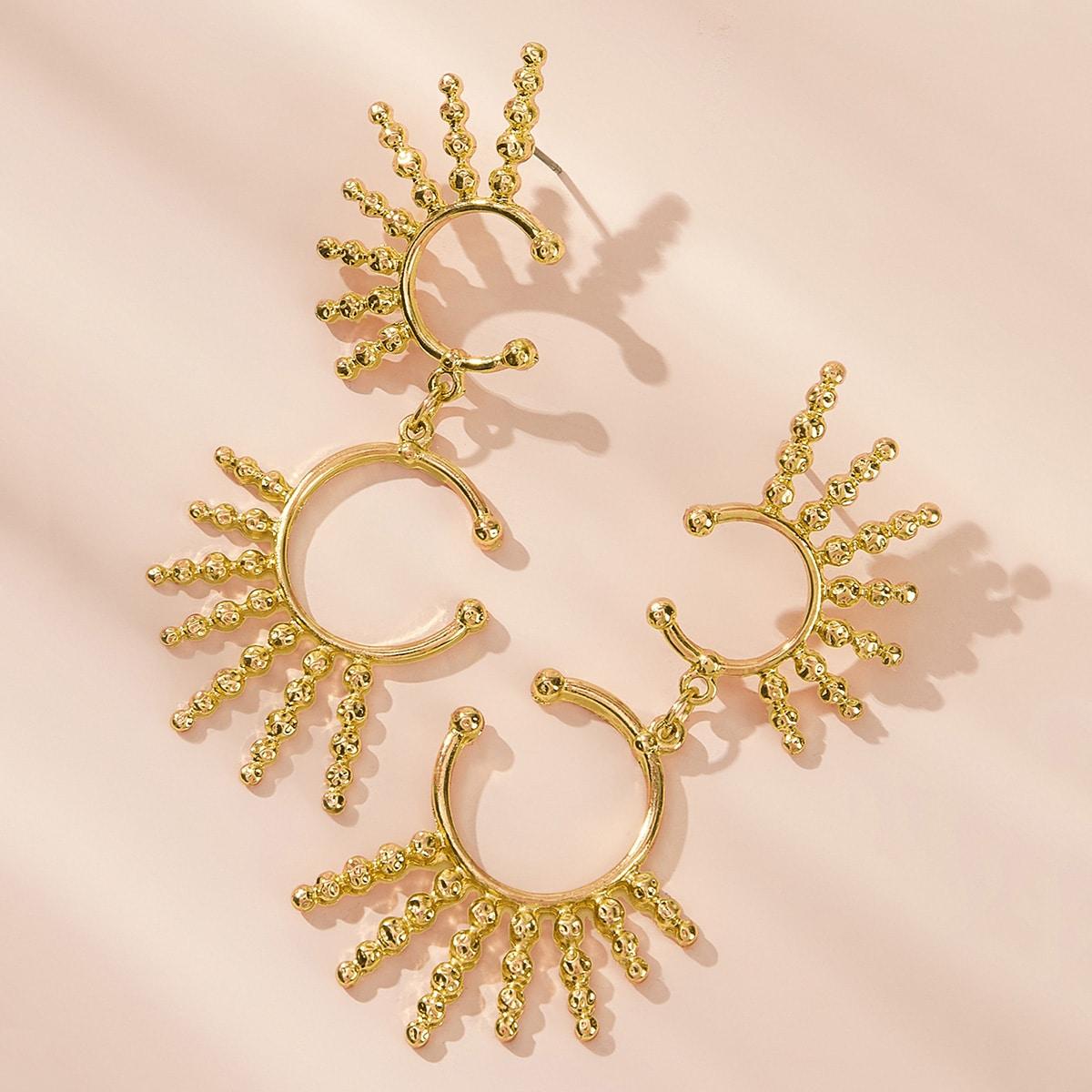1pair Sun Design Metallic Drop Earrings