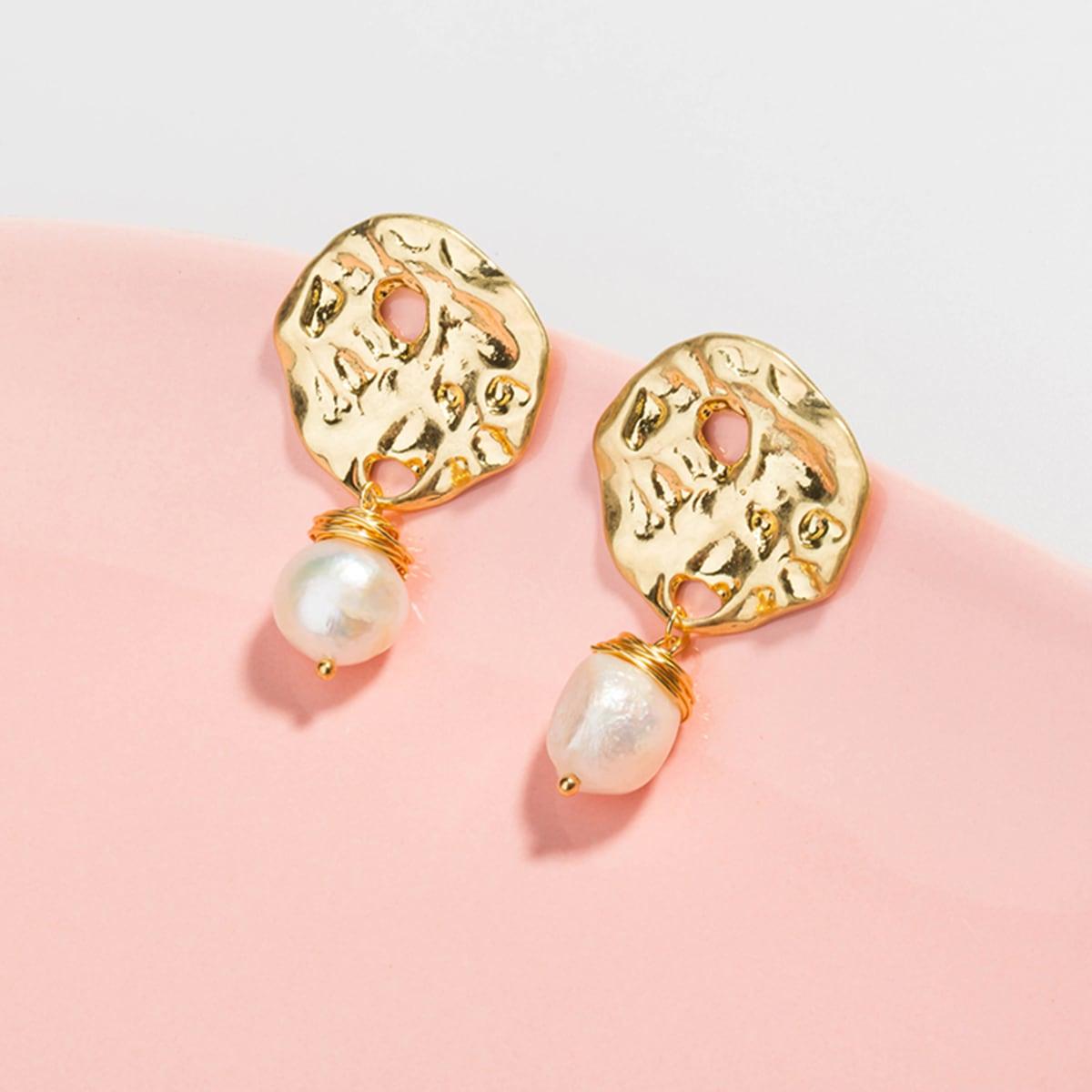 1pair Textured Metal Pearl Drop Earrings