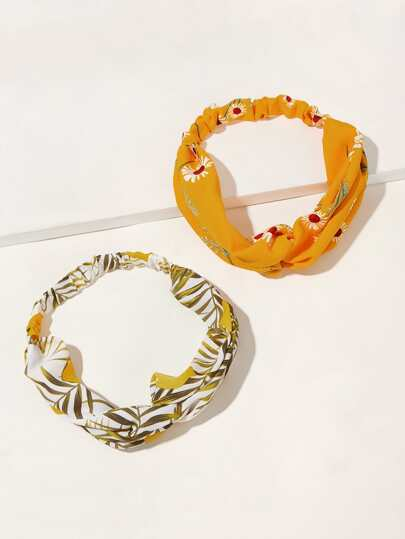 2pcs Lemon & Floral Pattern Headband