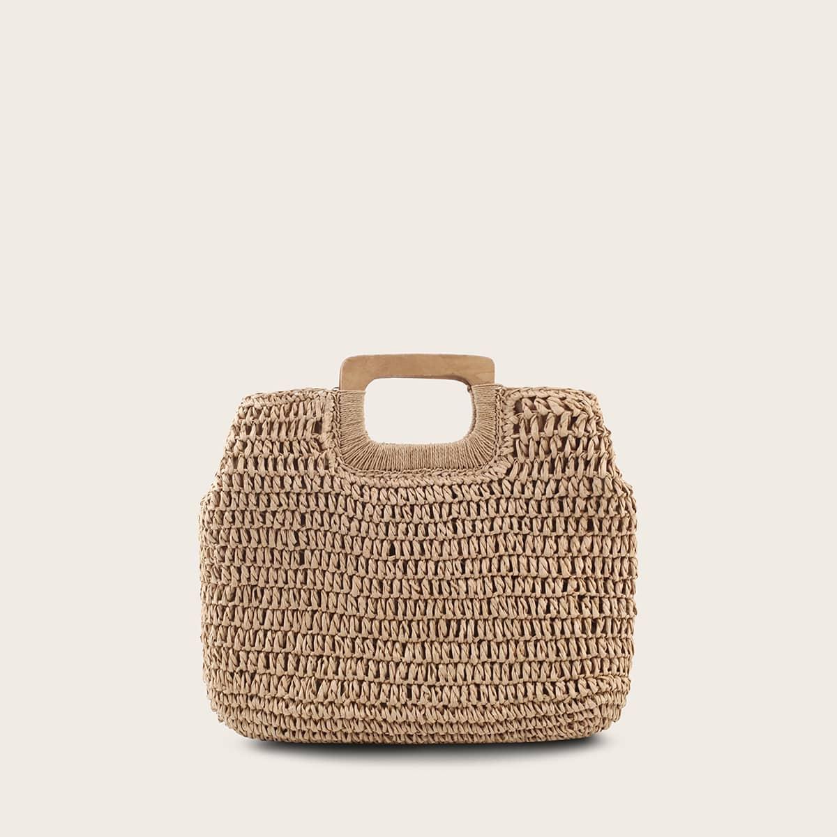 Плетеная сумка-тоут с деревянной ручкой