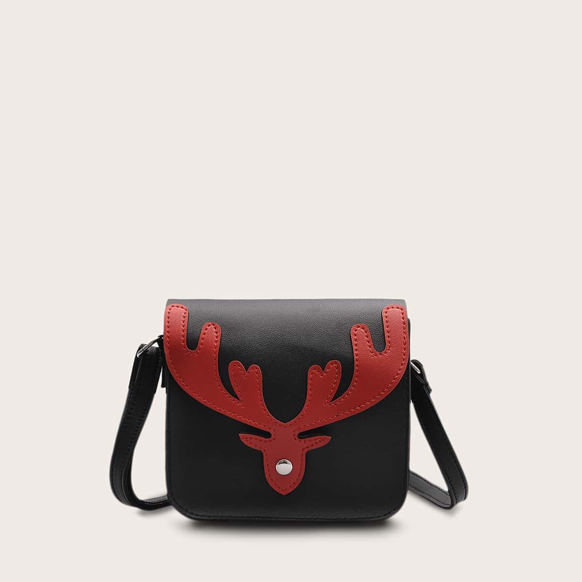 Deer Graphic Flap Crossbody Bag