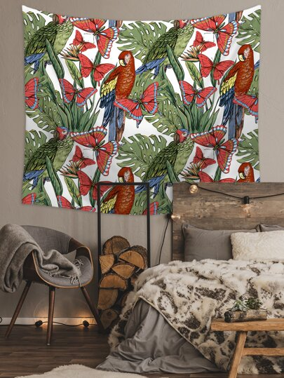 Parrot & Butterfly Print Tapestry