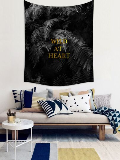 Leaf & Slogan Graphic Tapestry