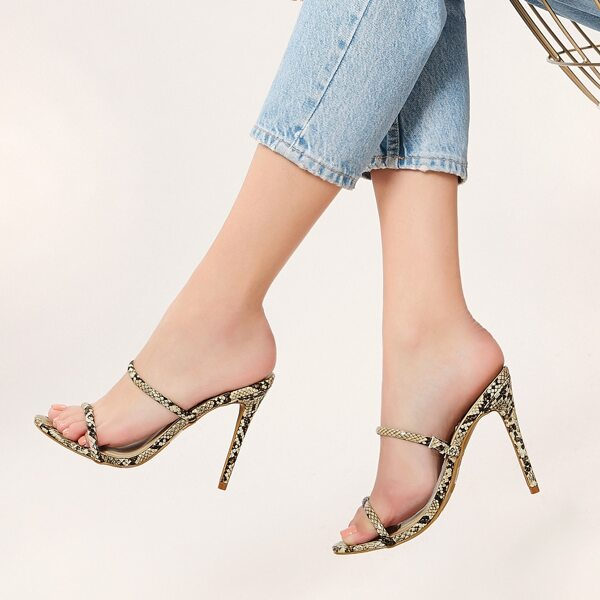 Snakeskin Double Band Open Toe Stiletto Heels, Multicolor