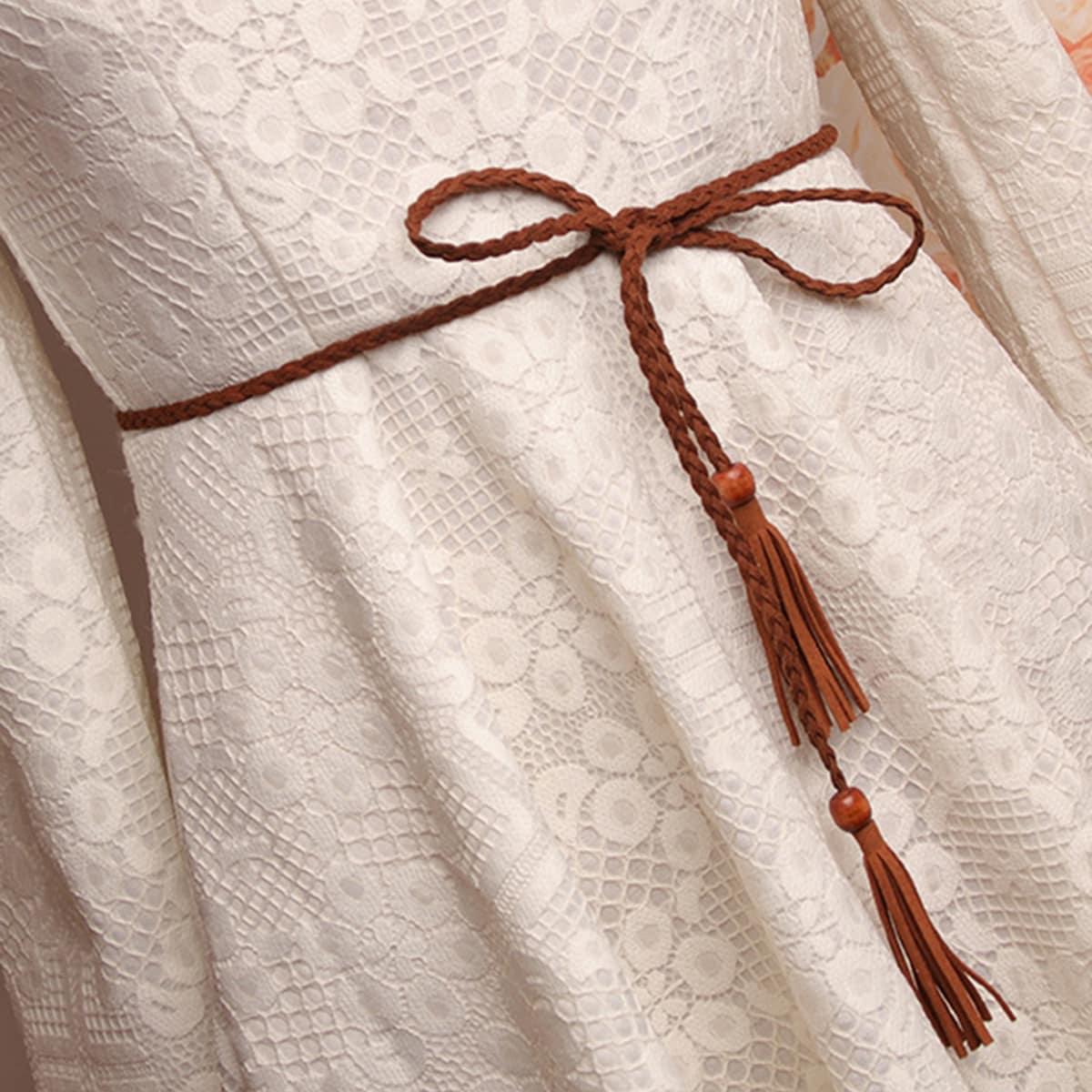 Плетеный ремень с бахромой