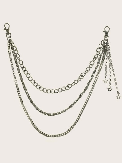 Star Charm Metal Layered Chain Belt