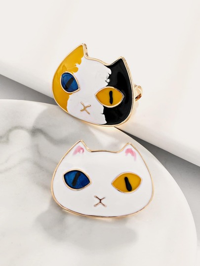 2pcs Cute Cat Head Shaped Brooch