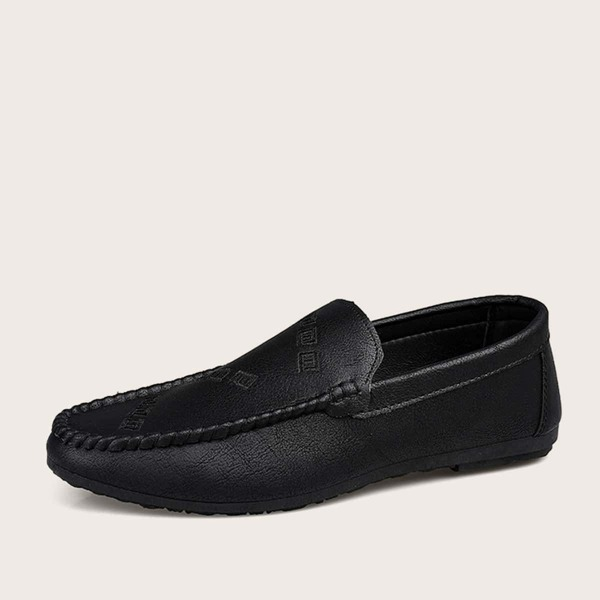 Men Geo Pattern Stitch Trim Loafers, Black