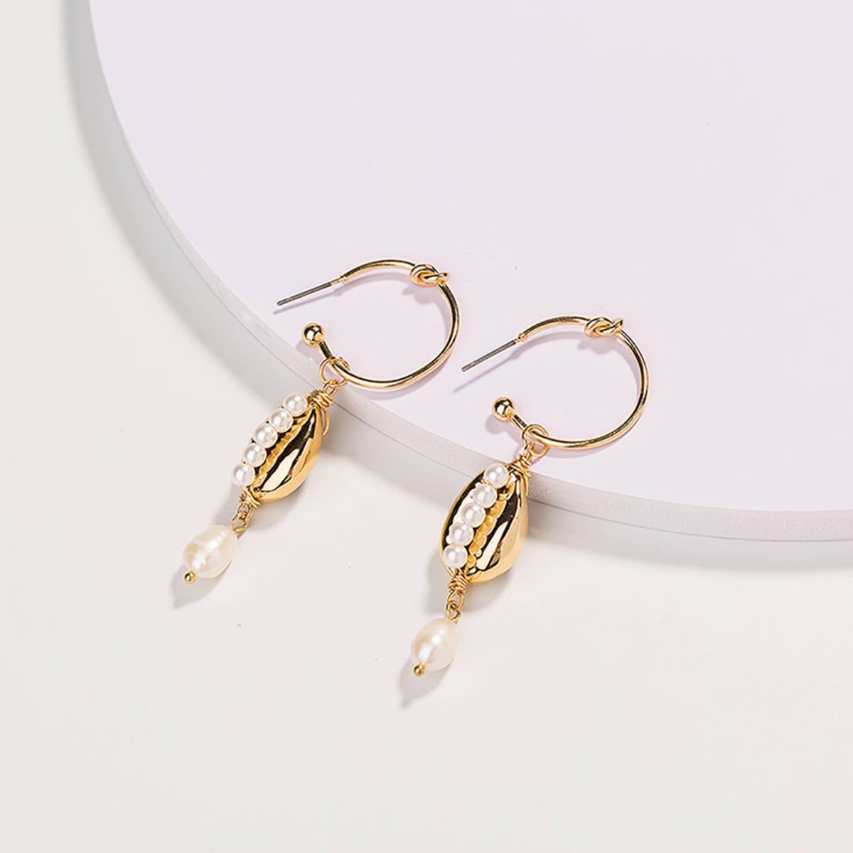 1pair Pearl & Shell Decor Drop Earrings