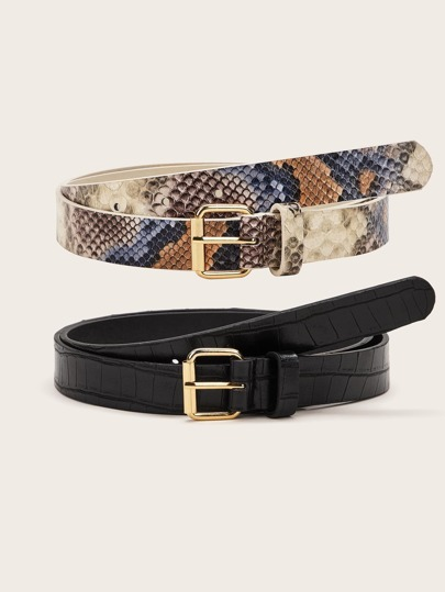 2pcs Snakeskin Pattern Metal Buckle Belt