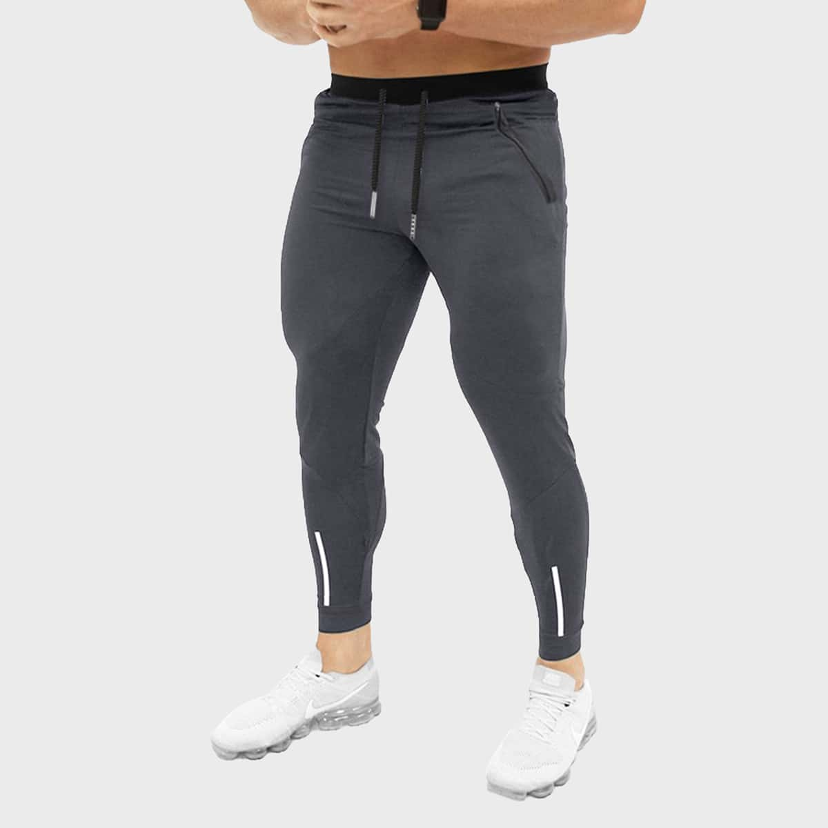 Men Tape Side Drawstring Athletic Pants