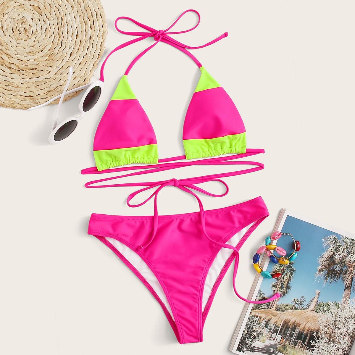 Neon zweifarbiger dreieckiger Bikini Set mit Neckholder