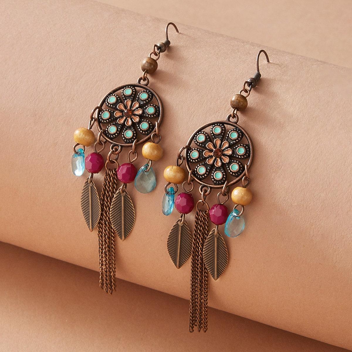 1 Paare Feather & Chain Tassel Drop Ohrringe