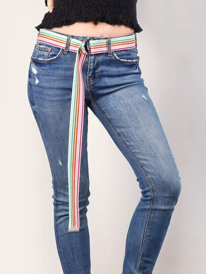 Rainbow Striped Tape Belt