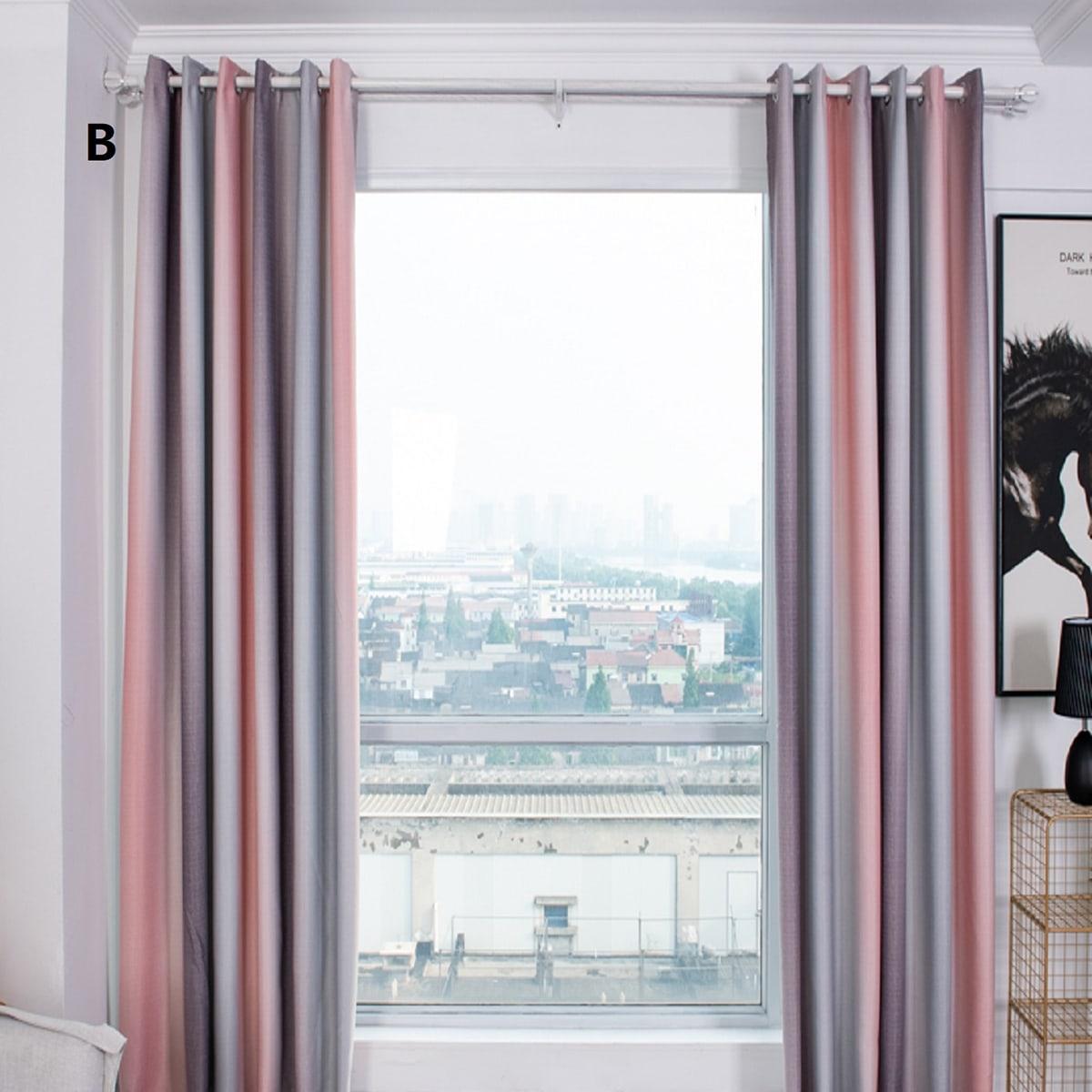 1pc Striped Pattern Eyelet Curtain