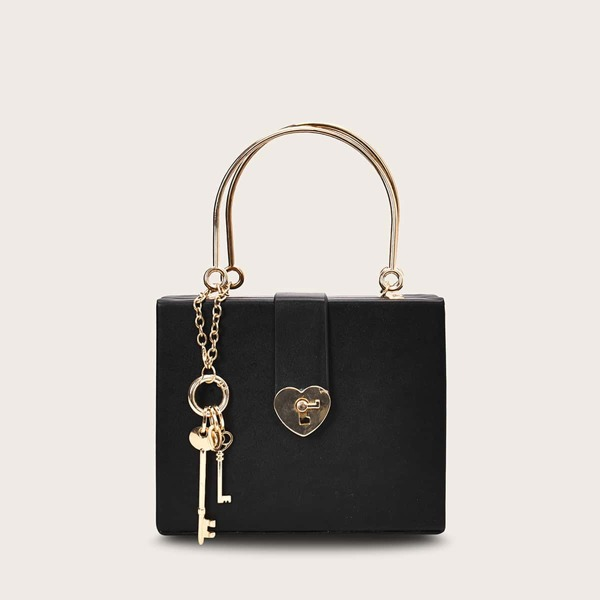 Key Charm Chain Box Bag, Black