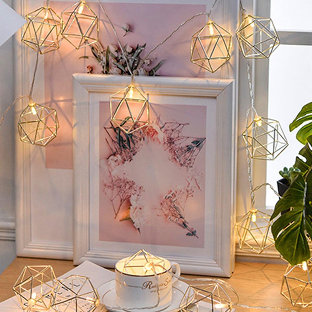 10 Stücke geometrische Metallbirne Lichterkette