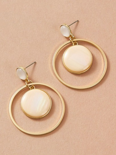 1pair Hollow Out Round Drop Earrings