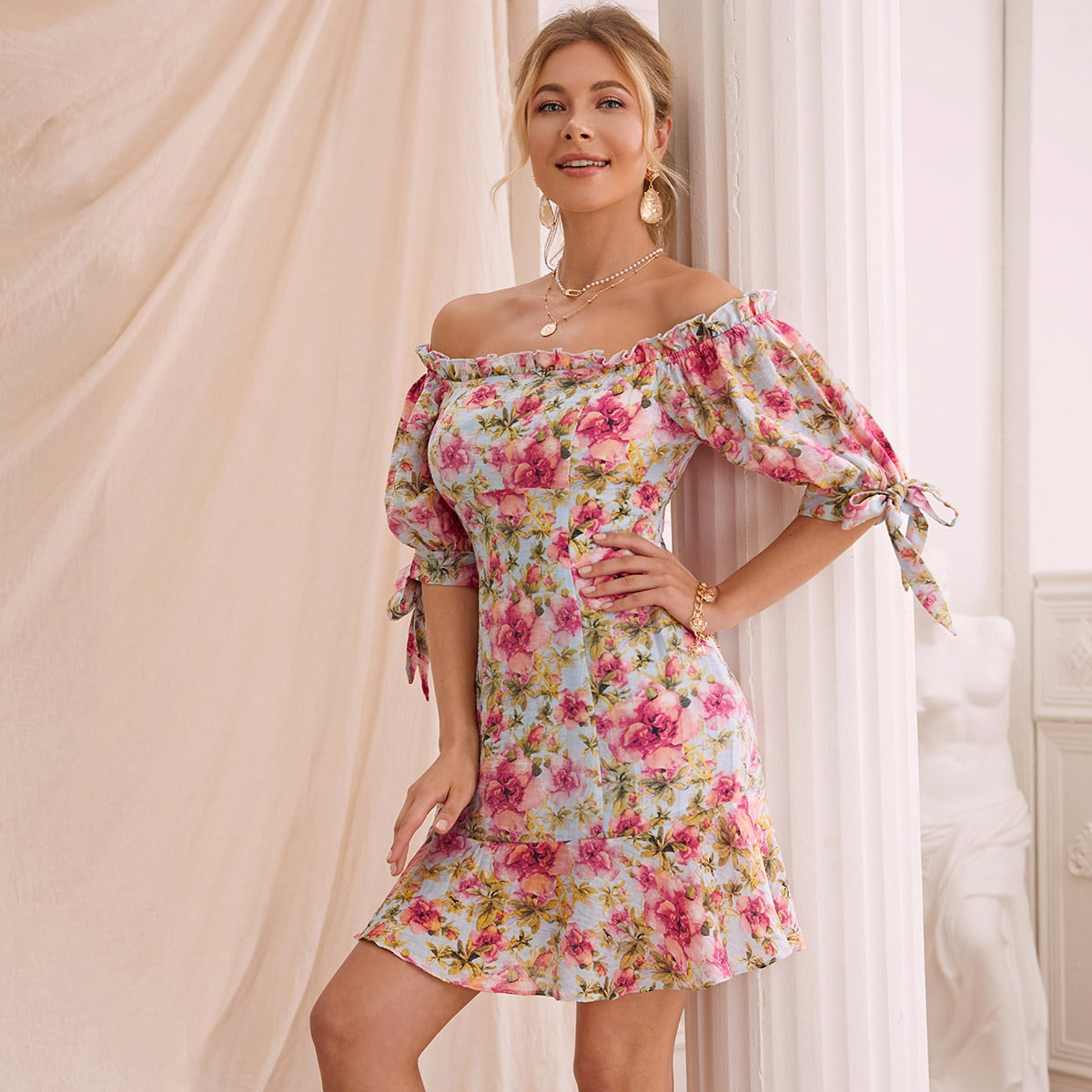 Off Shoulder Knotted Cuff Ruffle Hem Floral Dress