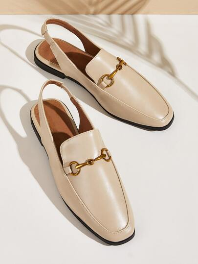 Horsebit Decor Slingback Loafers