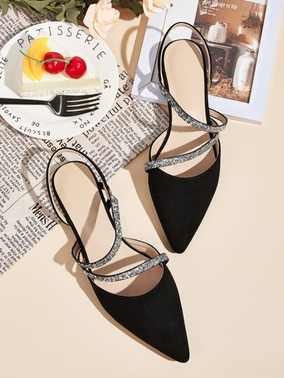 Point Toe Glitter Strap Slingback Flats