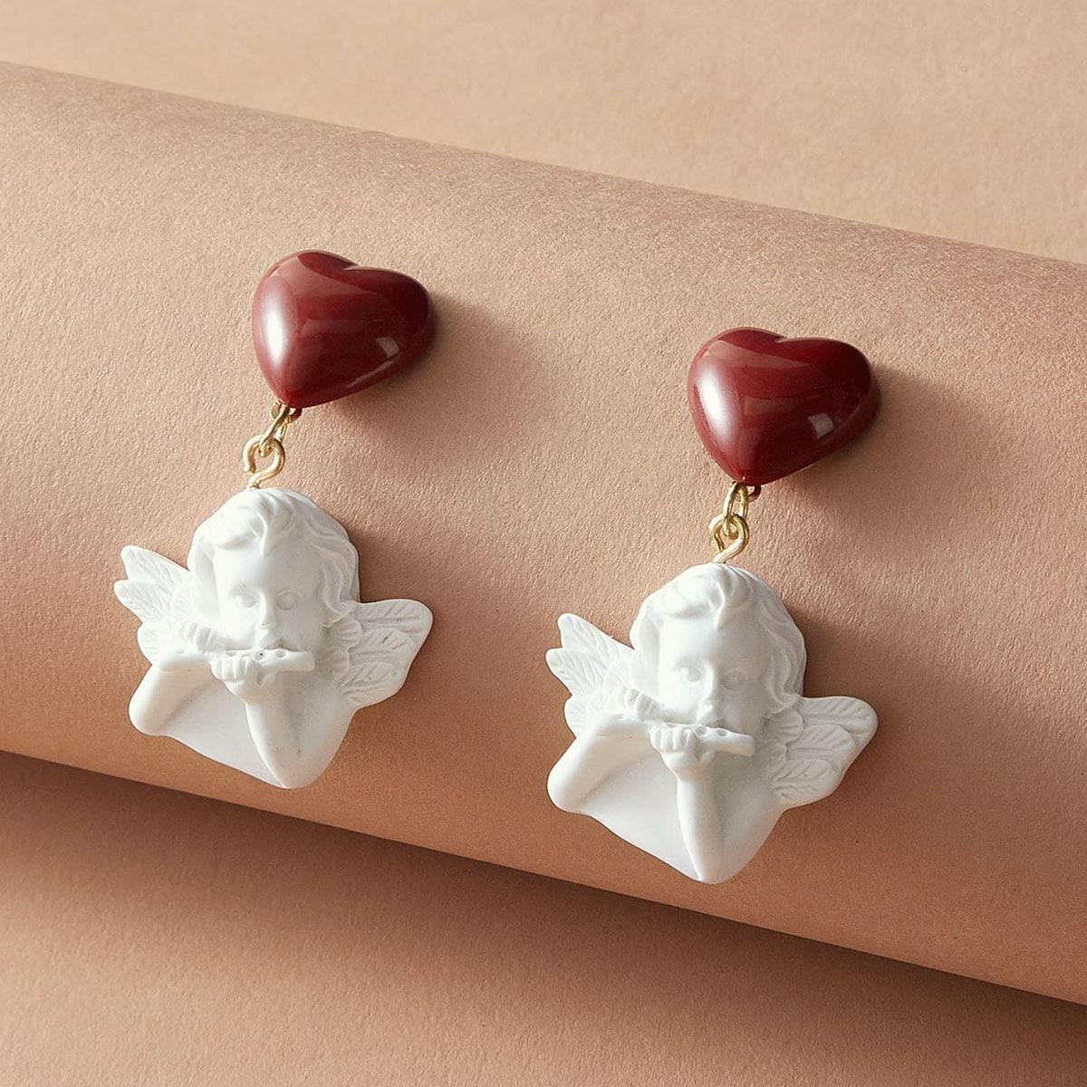1 Paar Engel & Herz Dekor Tropfen Ohrringe