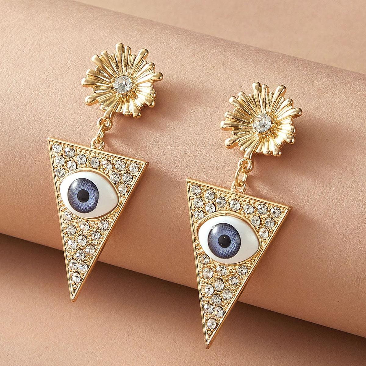 1 Paar Strass Gravur Eye & Triangle Decor Drop Ohrringe