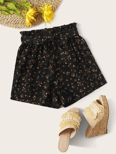Ditsy Floral Print Belted Shorts