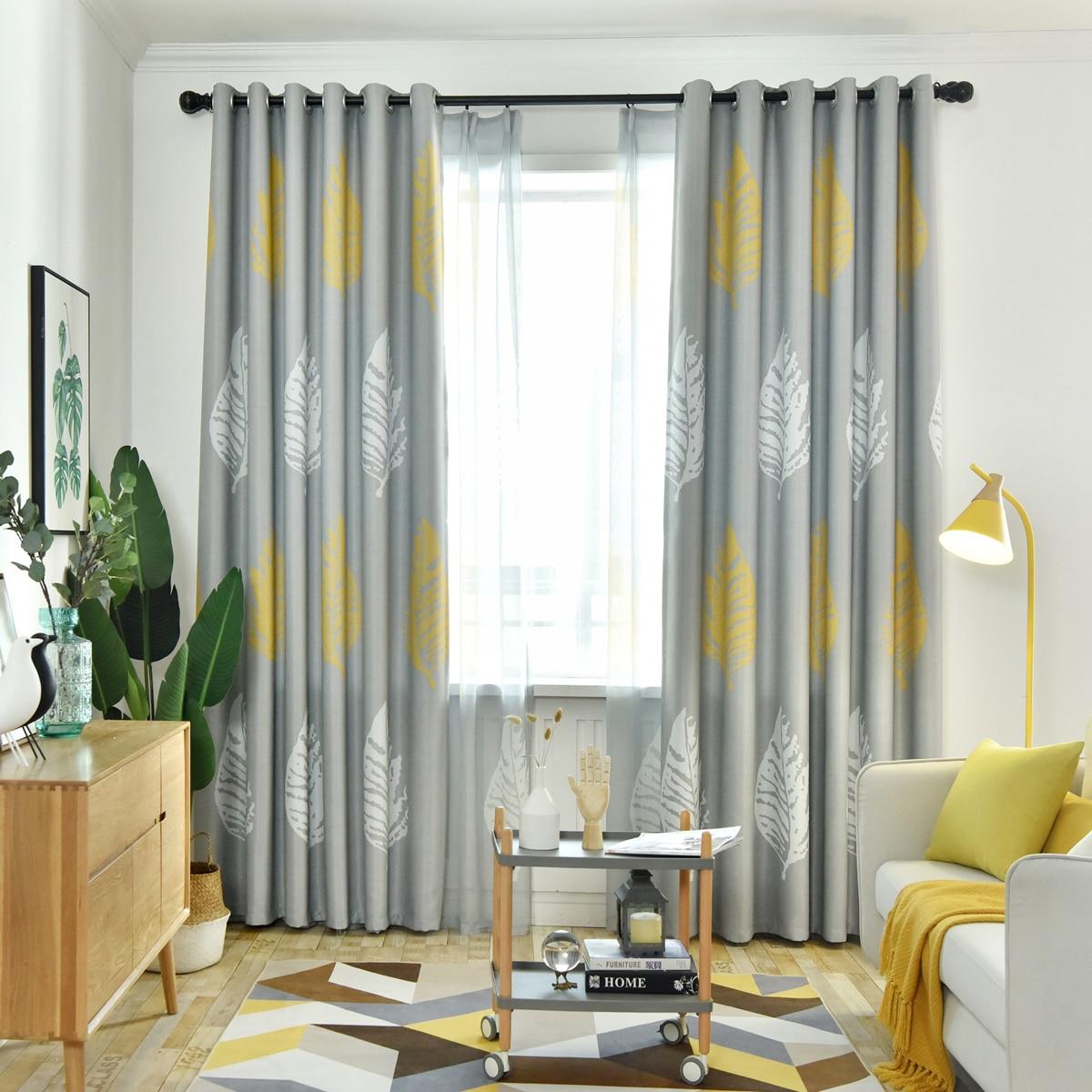 1 Stück Vorhang mit Blatt Muster und Öse