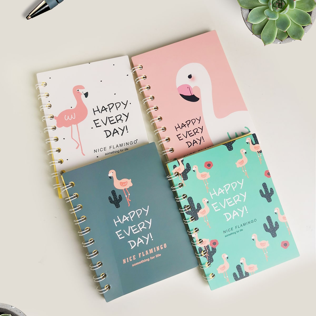 1pack Random Flamingo Print Cover Spiral Notebook