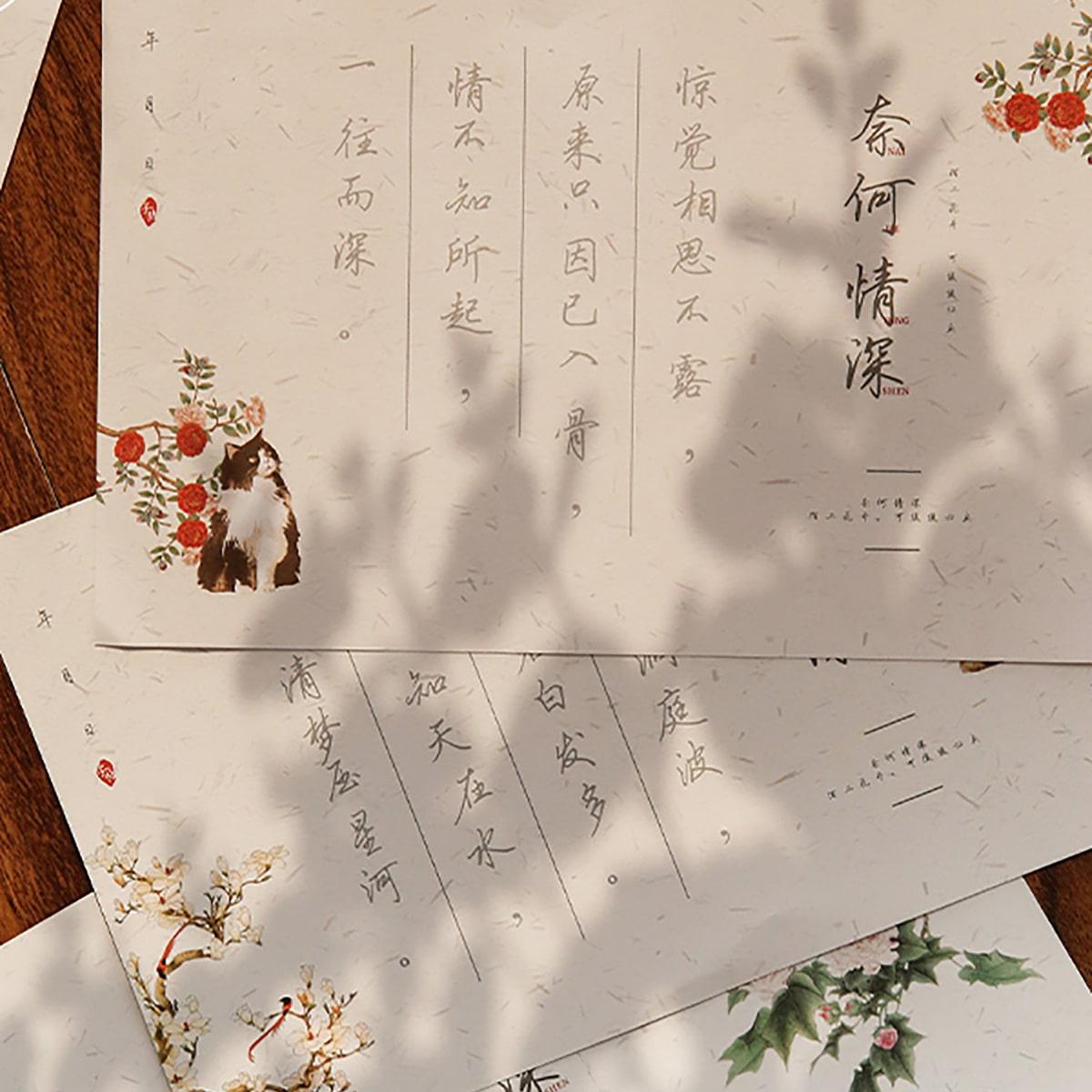 30sheets Flower Print Greeting Card