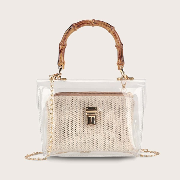 Clear PVC Satchel Bag With Inner Woven Pouch Bag, Beige