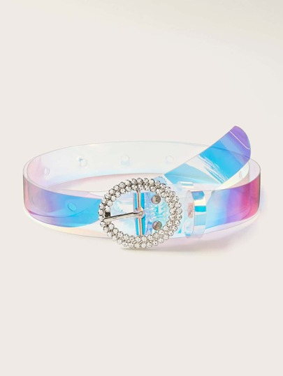 Rhinestone Engraved Buckle Holographic Transparent Belt