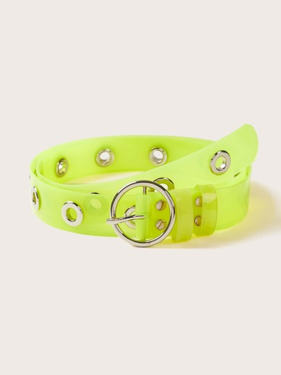 Neon Lime Buckle Transparent Belt