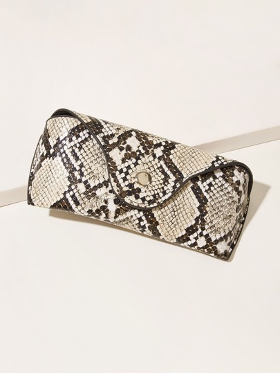 Snakeskin Print Glasses Case