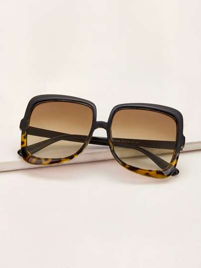 Leopard Print Acrylic Frame Sunglasses With Case